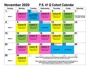 November Cohort Calendar