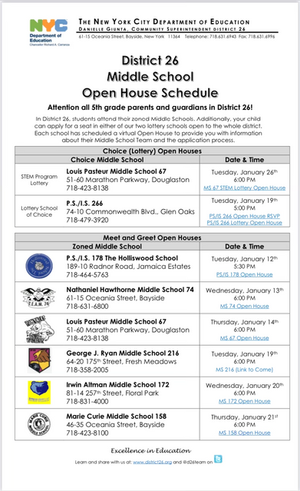 5th Grade: Middle School Open House Schedule & Application