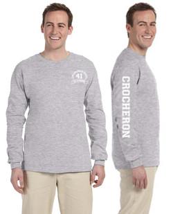 Grey Long Sleeve Crocheron Shirt