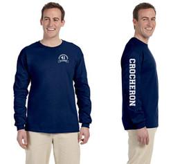 Navy Long Sleeve Crocheron Shirt