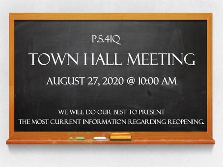 Town Hall Meeting - Thu, Aug 27 @ 10am