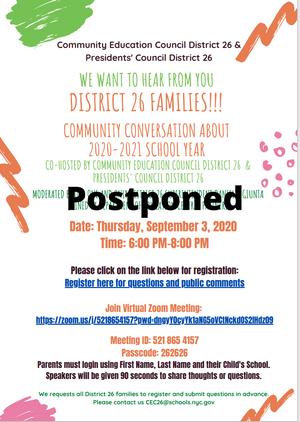 POSTPONED - D26 Virtual Community Conversation