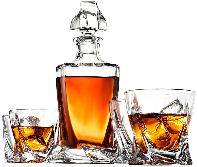 5-Piece European Style Whiskey Decanter & Glass Set