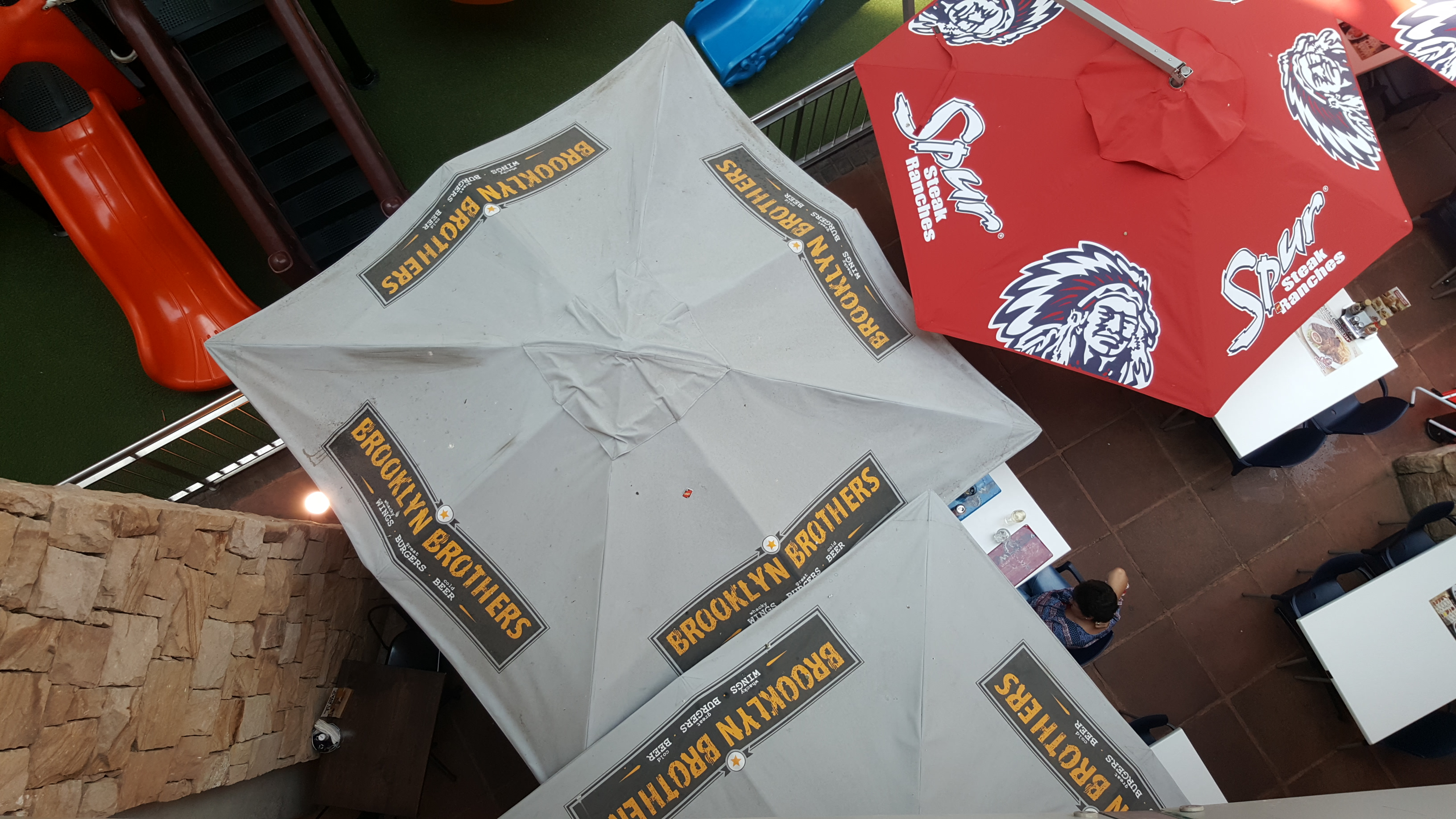 Centre Post Square Umbrella Branded