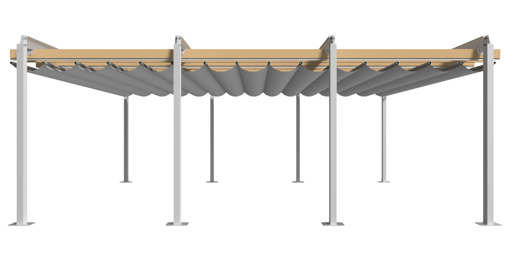 Retractable Pergola - Side Elevation