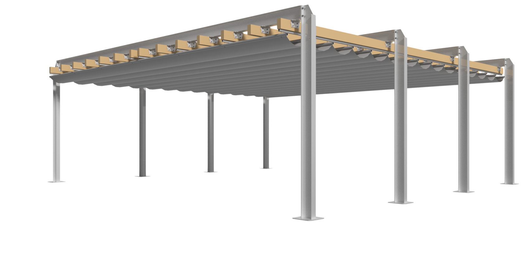 Retractable Pergola - Isometric View