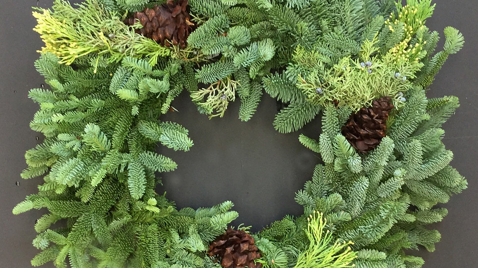 """14"""" Mixed Wreath with Cones"""