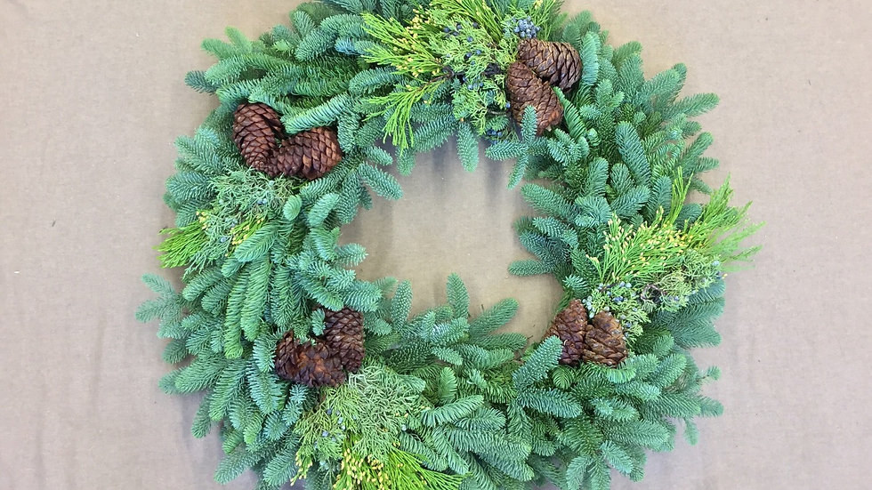 """18"""" Mixed Wreath with Cones"""