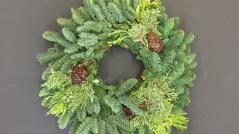 """10"""" Mixed Wreath with Cones"""