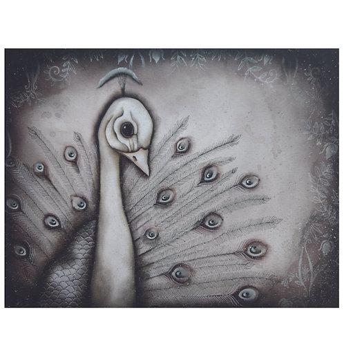 """16""""x20"""" White Peacock Original Painting"""
