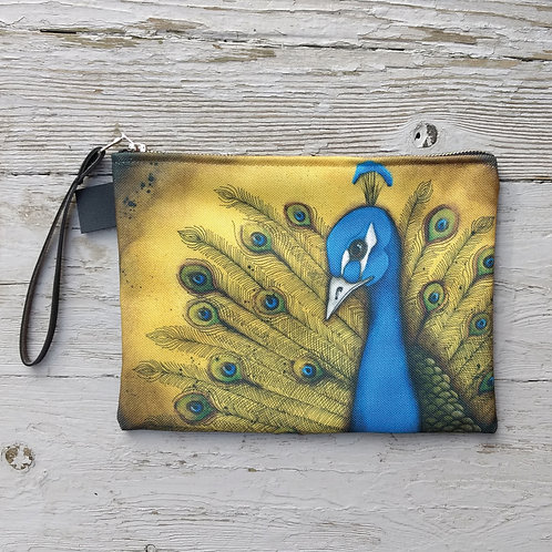 Yellow Peacock Zippered Carry-All