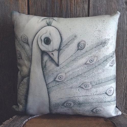 White Peacock Pillow