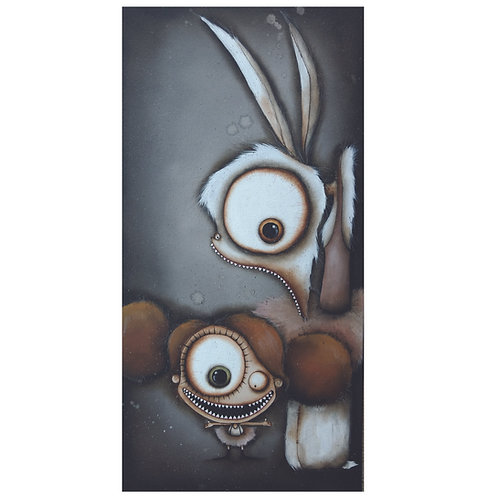Olive and Mr. Giggles Original Painting
