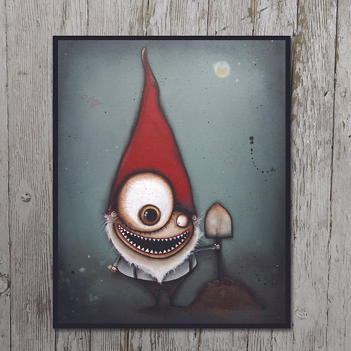 Creepy Gnome Print Plaque