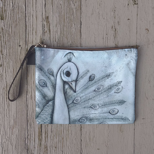 White Peacock Zippered Carry-all