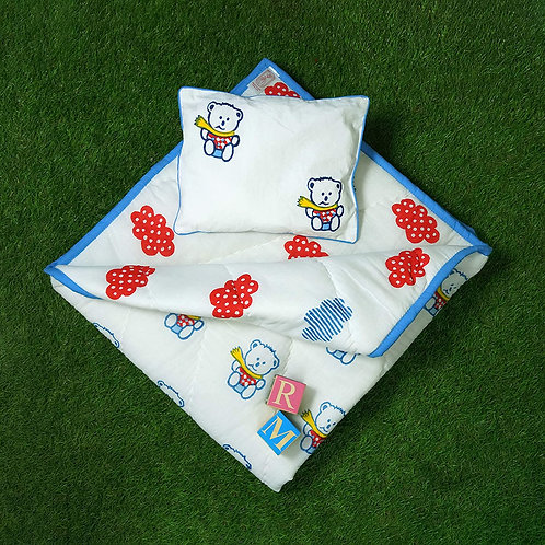 Rosa Mystica Soft Quilt Dohar with 1 Pillow | Mild Winter or AC Quilt for baby