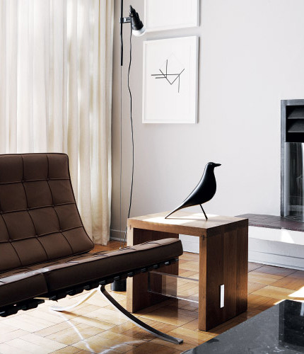 Eames bird with barcelona chair_living area