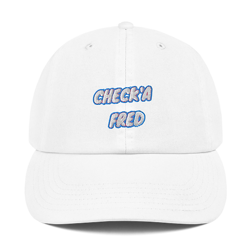 Check'a Fred Dad Hat White
