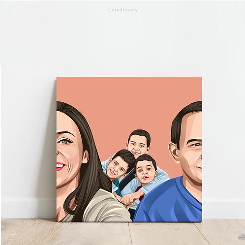 ארבעה דמויות ומעלה | איור משפחתי גדול | סגנון ראליסטי