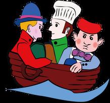 Trois hommes dans un baquet,en mer