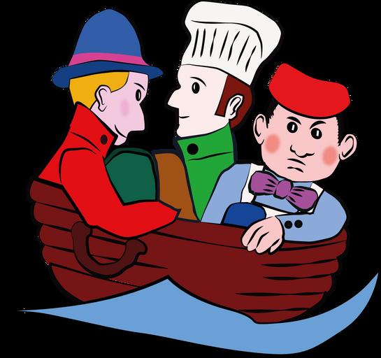 trois hommes dans un baquet