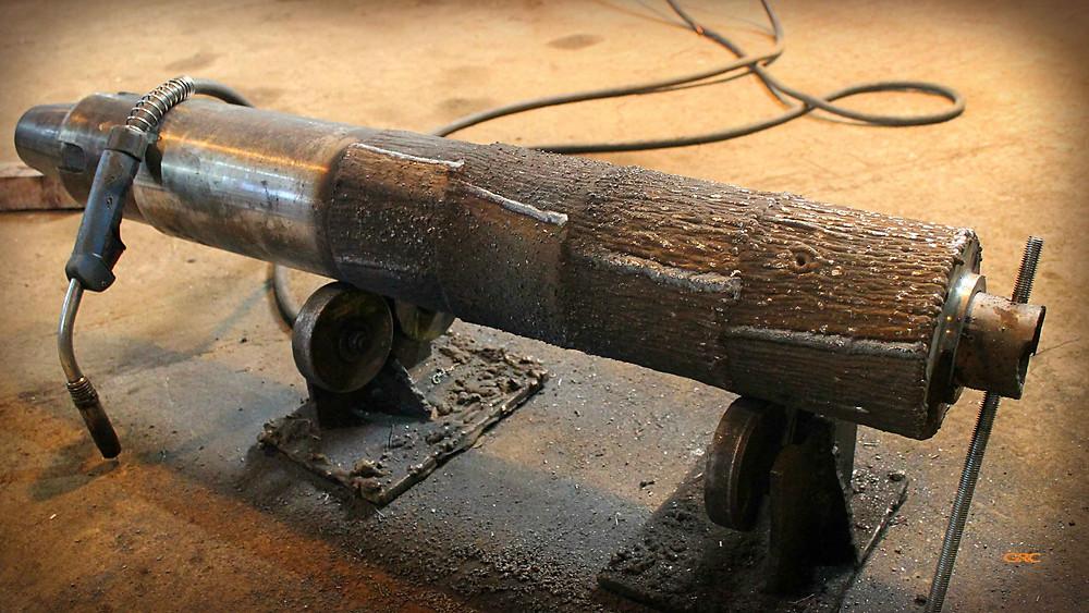 наплавляем металл на поверхность хвостовика экструдера