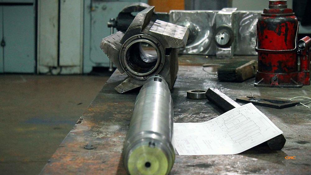 подготовка к установке нового вала на ротор дробилки