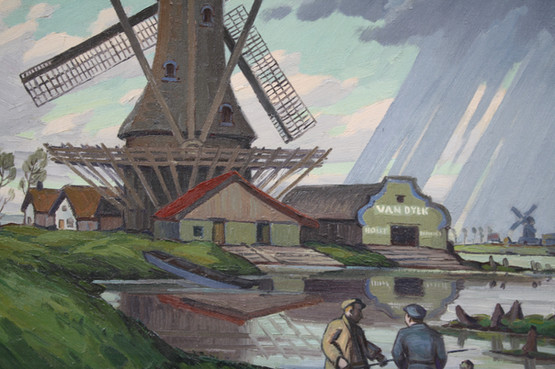 Dutch Mill on Road to Amsterdam