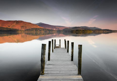 Red dawn, silver jetty by David A
