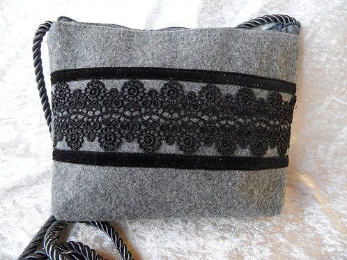 Kordel-Tasche grau mit schwarzer Spitze