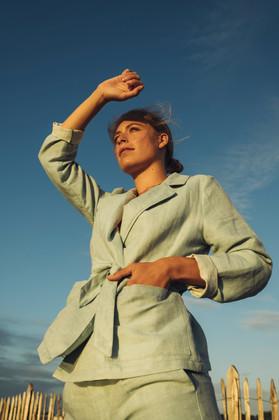 kimono vest Magritte en broek Permeke in mintkleur