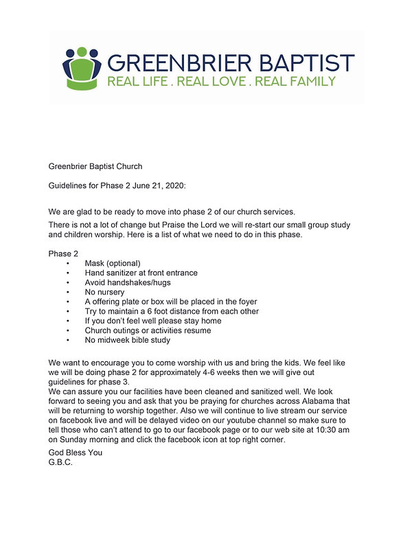 Greenbrier Baptist Church Guidelines Jun