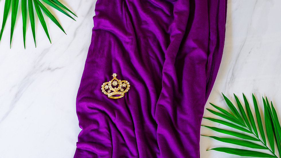 Cotton Jersey Turban - Plum Purple