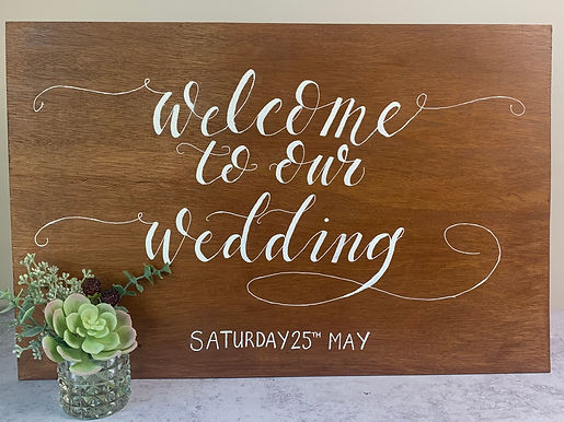 Wooden welcome board