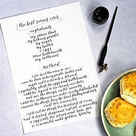 Handwritten scone recipe