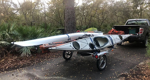Yakima rack-roll trailer with kayaks