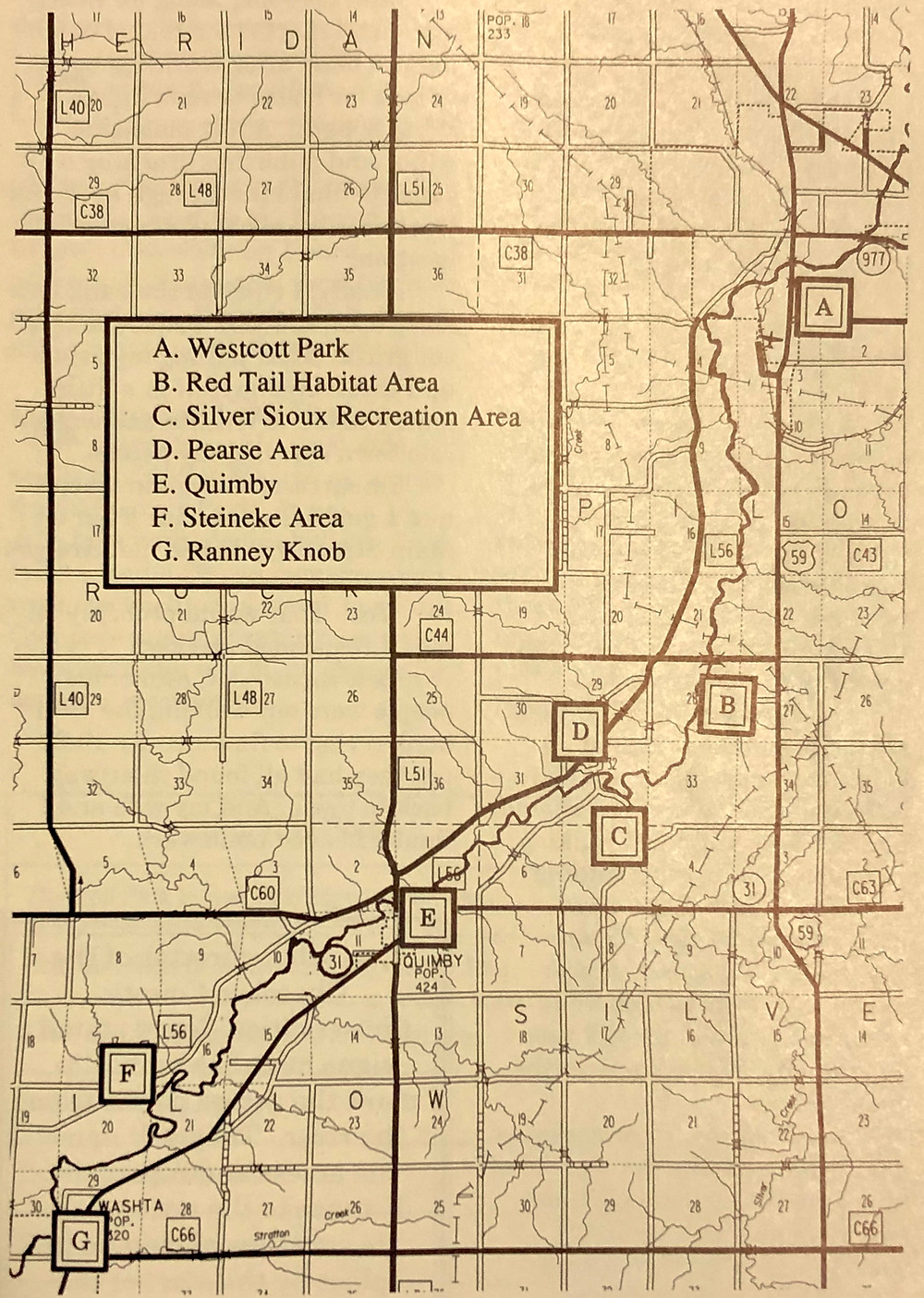 Map of the section of the Little Sioux River