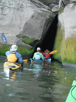 Paddling through the 'cave'