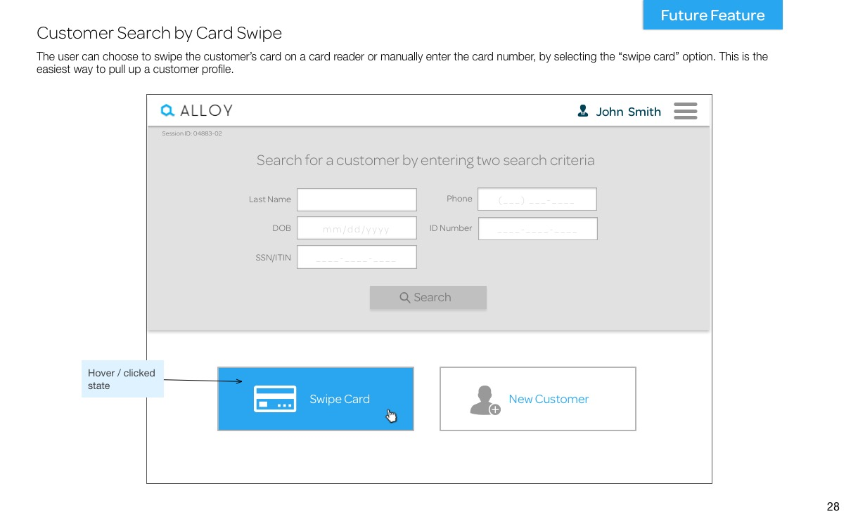 Customer Search by Card Swipe
