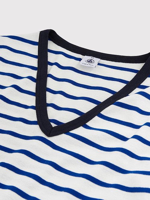 Tee Shirt Marinière Col en V Bleu Electrique