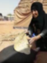Bedouin woman cookin shraak