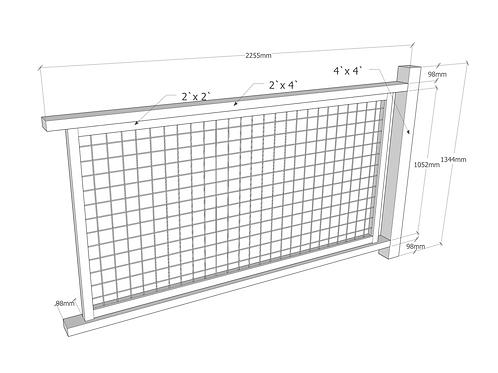 UW Netting gjerde 2,25 (L) x 1,15 (H)