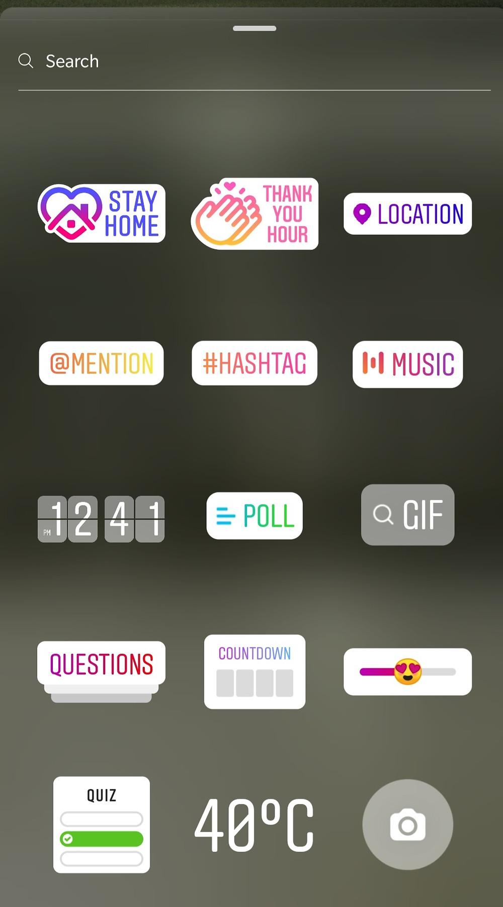 Options for Instagram story