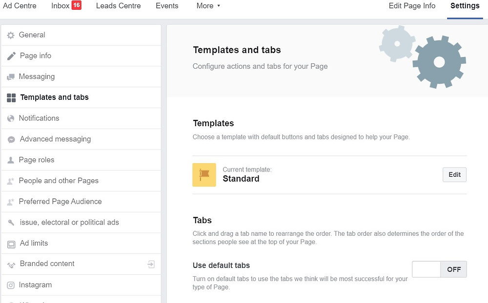 Changing tabs layout in Facebook page