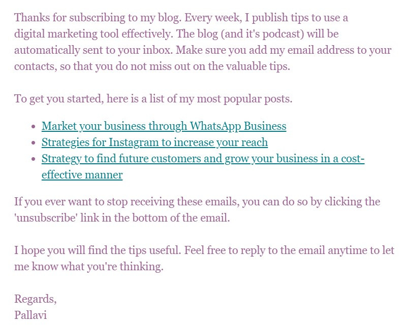 Welcome email with links