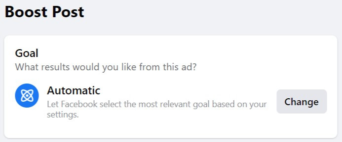 Facebook's suggestion for boost post objective