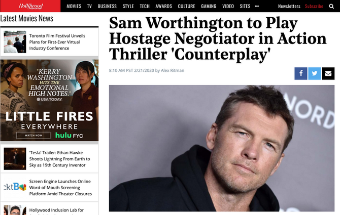 Sam Worthington to Play Hostage Negotiator in Action Thriller 'Counterplay'