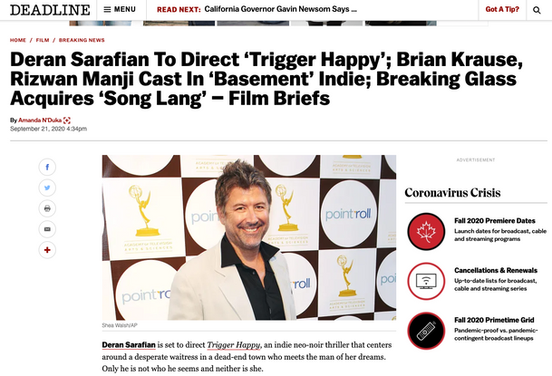 DEADLINE: Deran Sarafian To Direct 'Trigger Happy'