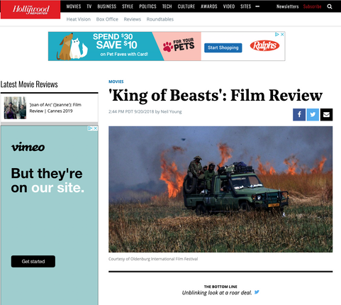 KING OF BEASTS reviewed in The Hollywood Reporter