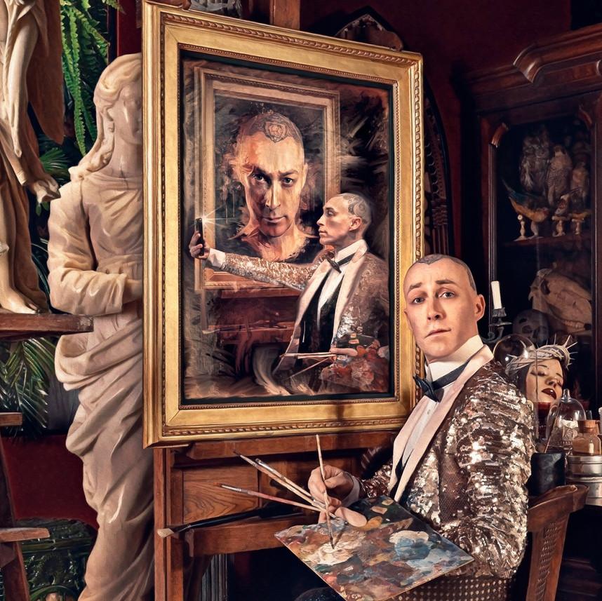 Détail d'autoportrait d'atelier.